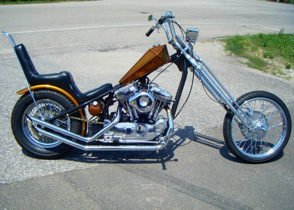 Featured bike april knapp s chopped 1200 sportster the for Garage seat nice