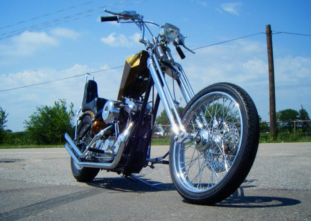 harley-davidson sportster chopper low angle view