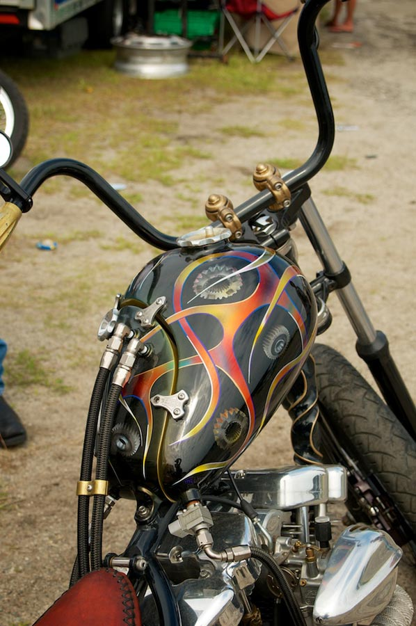custom fharley shovel with oil tank gas tank combination