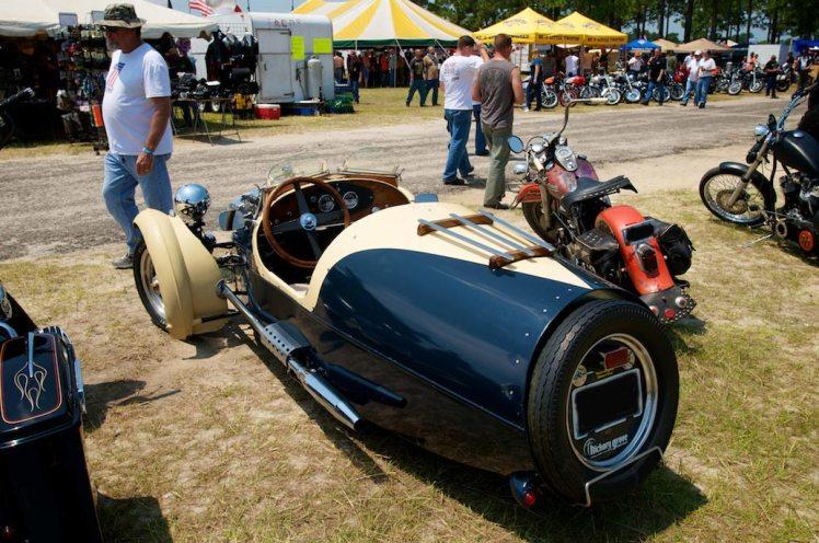 rear view of harley powered morgan three wheeler