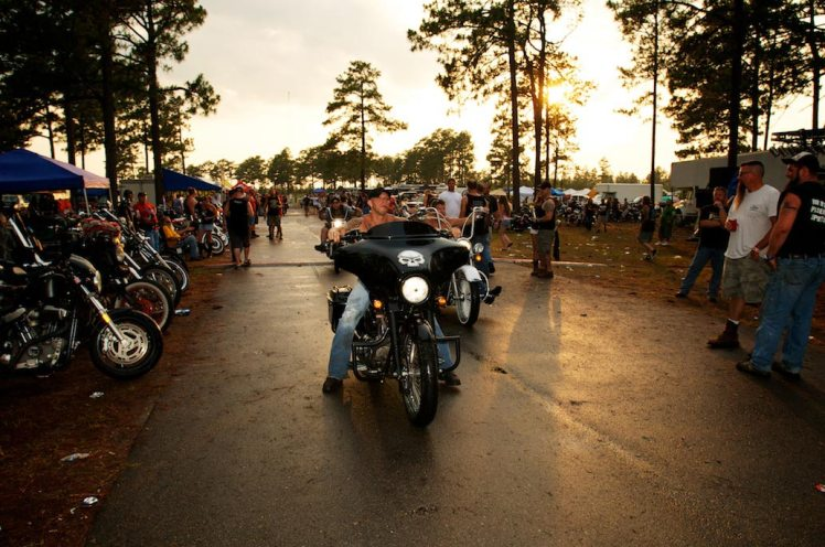 sunset photo of a harley bagger