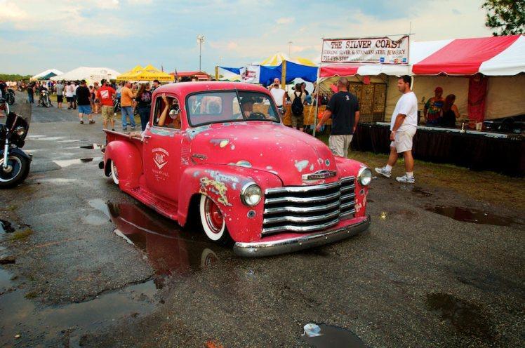 red custom gmc pickup truck