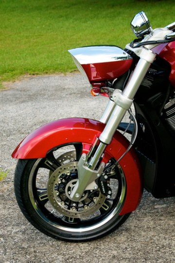 victory cross roads sunset red left side view front forks