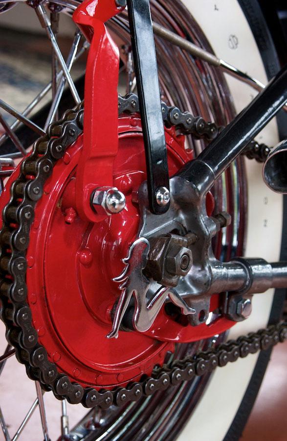 harley davidson 45 flathead bobber rear brake detail