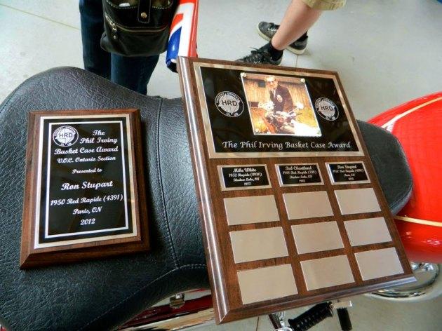 Close up of the award.