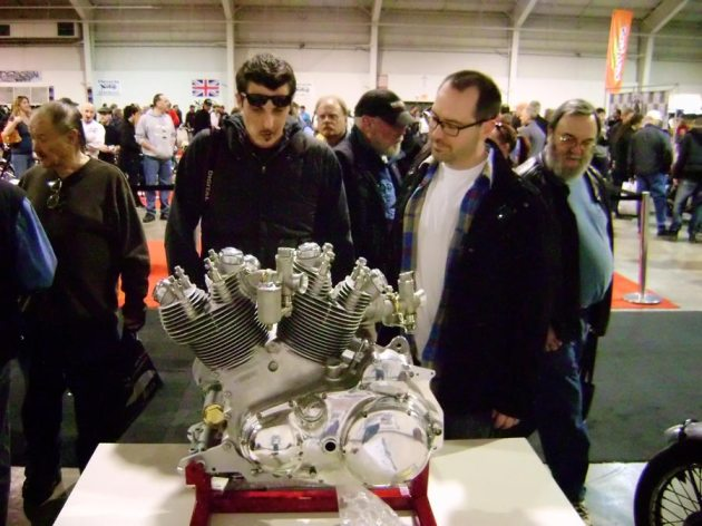 vincent rapide engine on display at the motorcycle show toronto