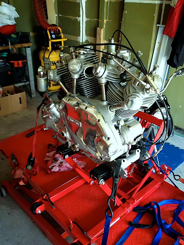 vincent rapide engine on lift