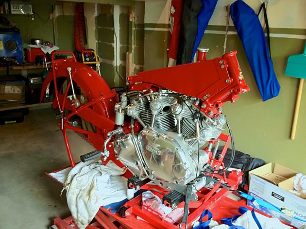 vincent engine rear and front frame members attached
