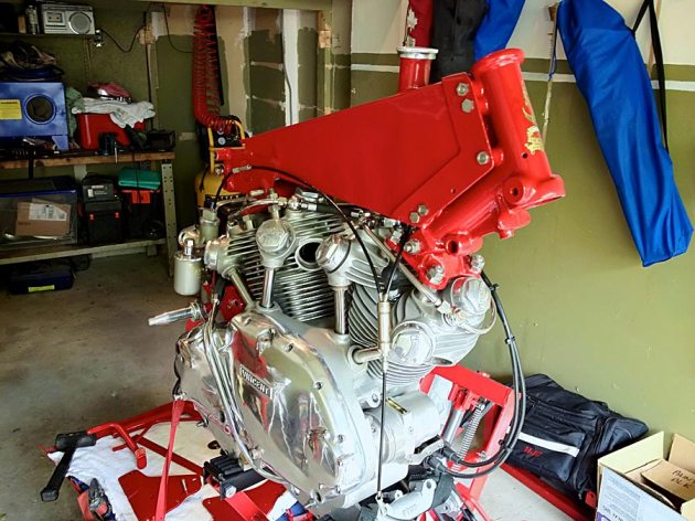 vincent engine with upper frame member installed