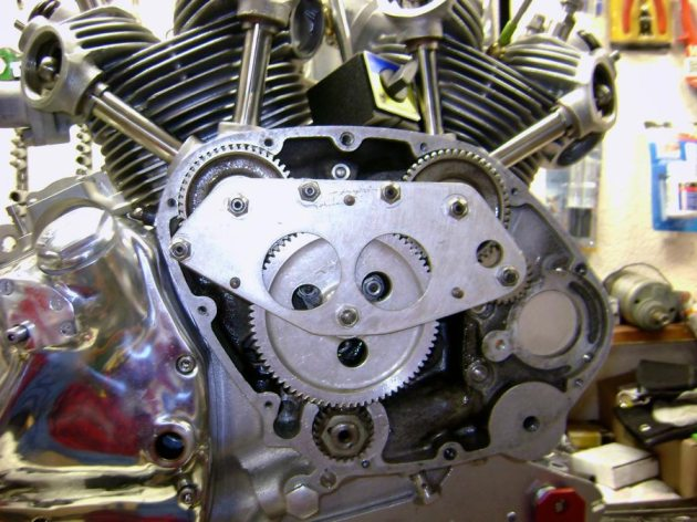 vincent rapide engine cam gears during assembly