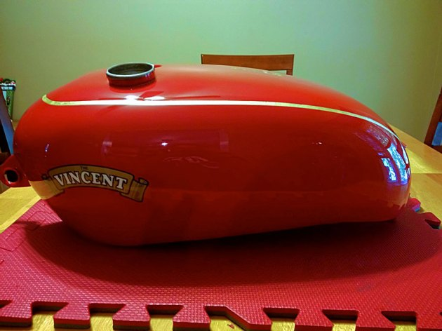 vincent rapide chinese red gas tank left side view