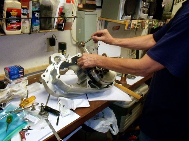 engine during assembly, installing the crank