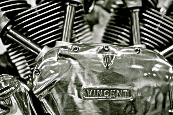 vincent rapide engine detail right side case back and white image