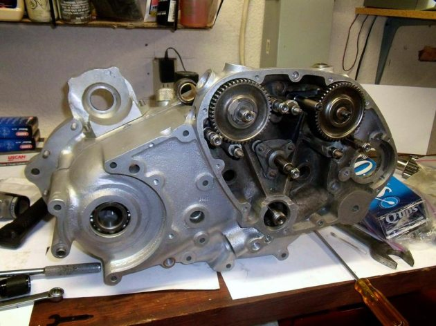 vincent rapide engine right side during assembly