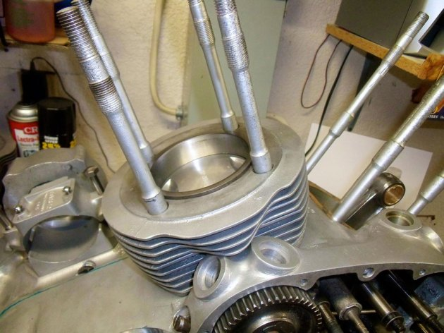 vincent rapide engine rear piston during assembly