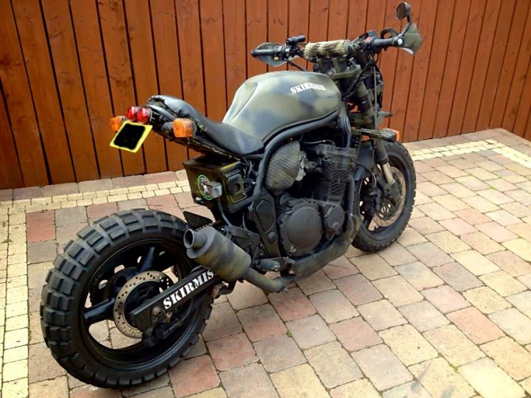 suzuki 600 bandit military street fighter custom as finished front right rear view