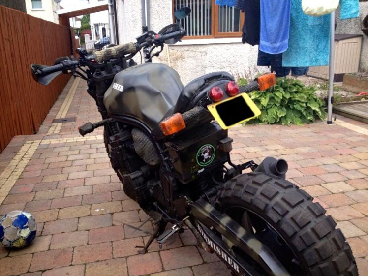 suzuki 600 bandit military street fighter custom as finished front left rear view