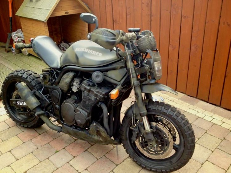suzuki 600 bandit military street fighter custom as finished front right view