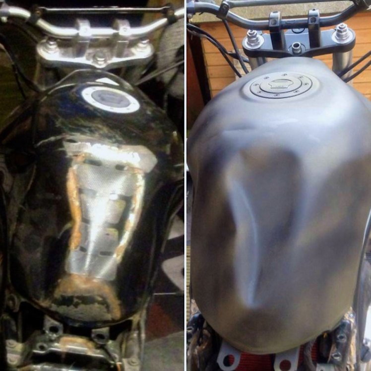 suzuki 600 bandit street fighter project painted gas tank before and after