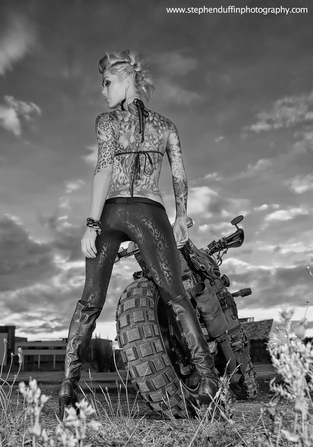 suzuki 600 bandit military street fighter custom close up rear view with model alex miskimmin photographer stephen duffin