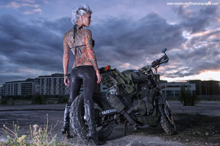suzuki 600 bandit military street fighter custom rear view with model alex miskimmin photographer stephen duffin