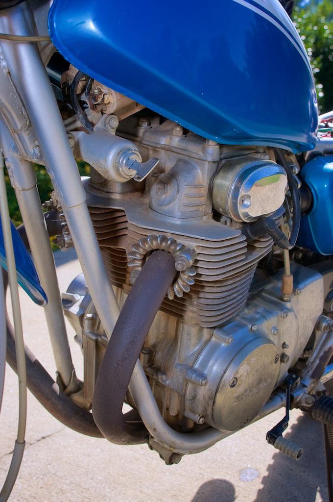 1971 Honda SL 350 left side view engine detail