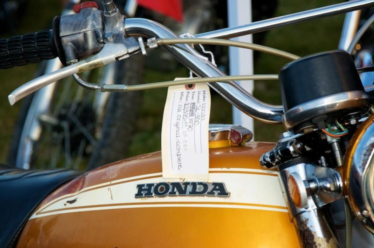 unrestored 1970 Honda SL 350 at barber vintage days price detail right side view