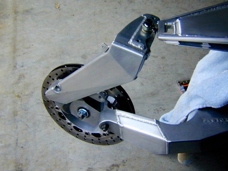 yamaha rz 350 forkless design left side view front without wheel mounted
