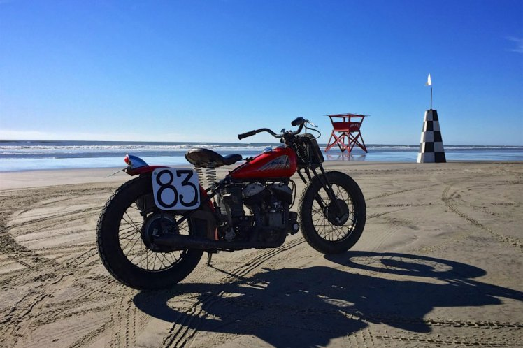 1941 indian scout one the beach in new jersey at the gentleman's race