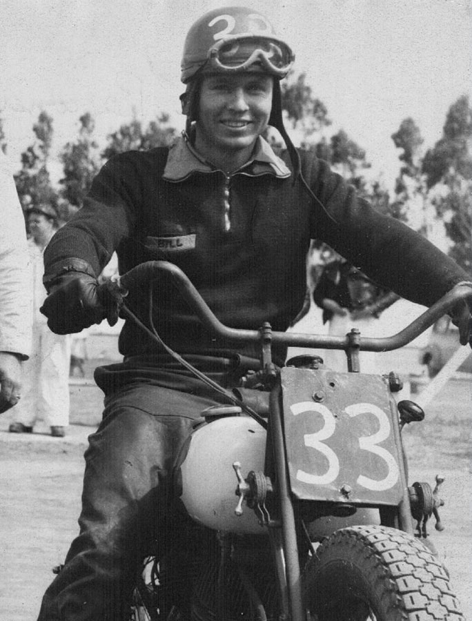 bill brownell number 33 flat track motorcycle racer on an indian scout