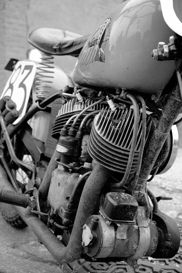 1941 indian scout bobber right hand side view low front generator detail